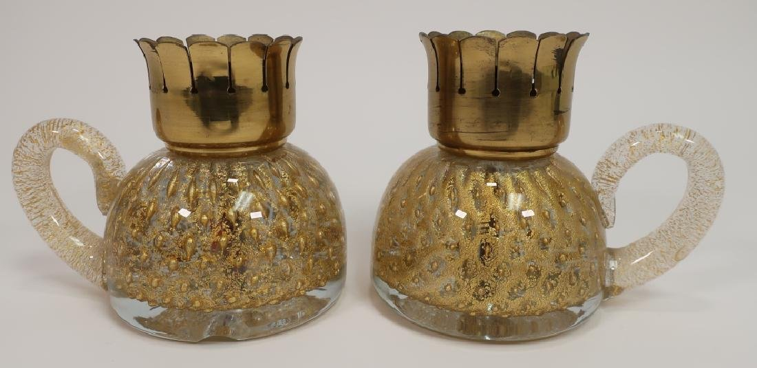 Pair Murano Gold Flecked Glass Candle Holders 1950