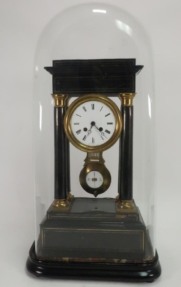 Japy Freres Empire Portico Clock, Ebonized, Domed