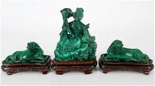 Lot of 3 Carved Malachite Figurines
