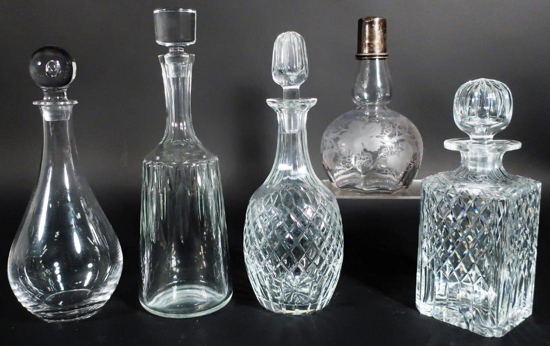 5 Crystal Decanters Tiffany, Baccarat & others