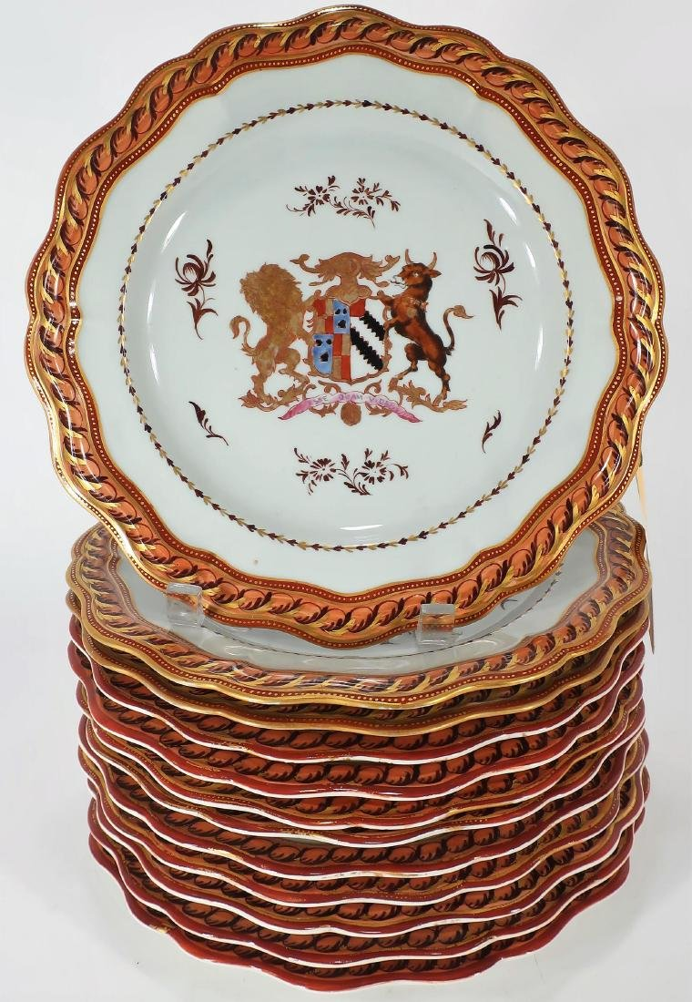Set of 12 Hand-Painted Armorial Porcelain Plates