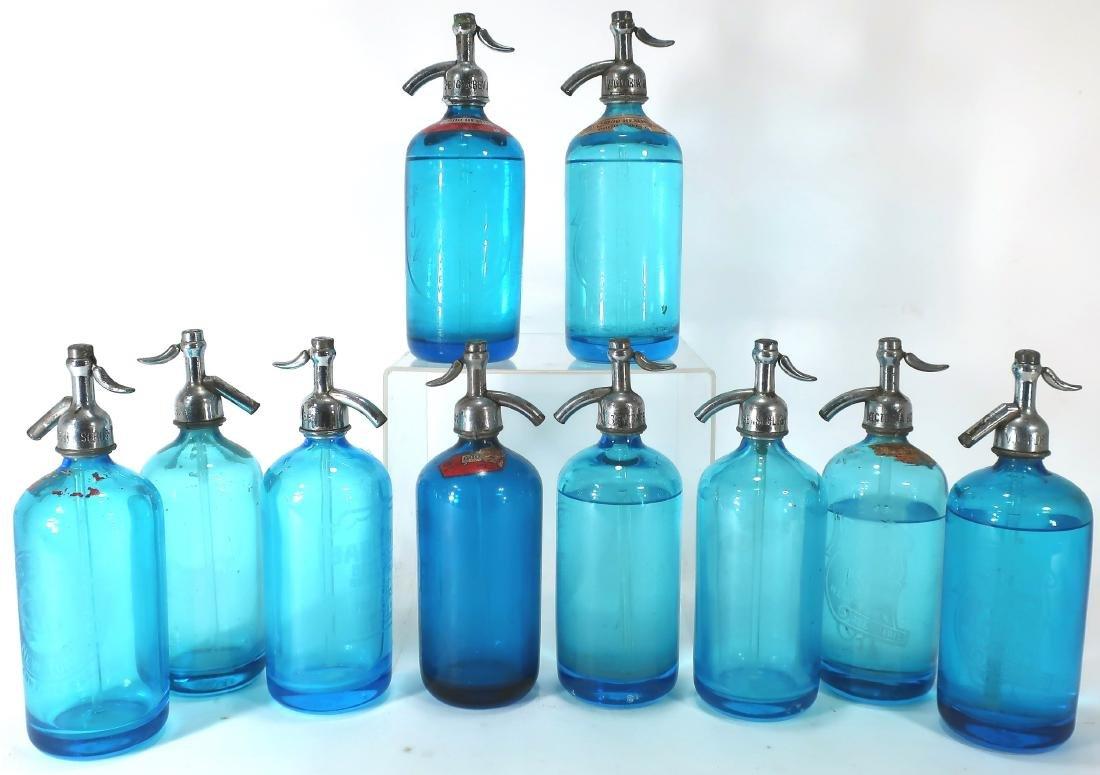 Antique Blue Czech Seltzer Bottles