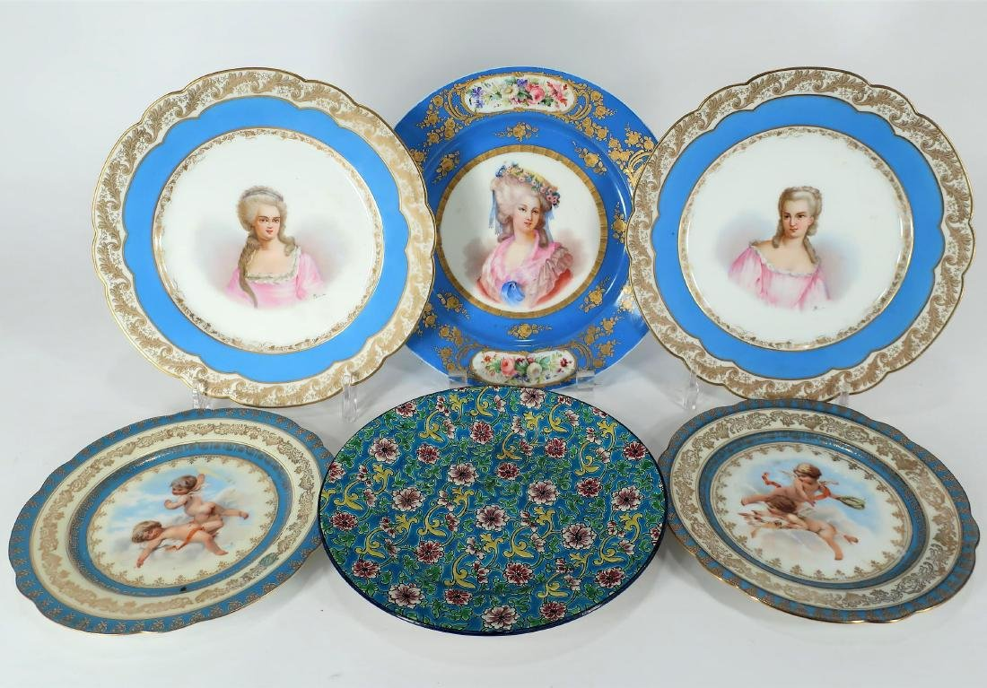 Lot of 6 Portrait Plates Sevres & Royal Vienna