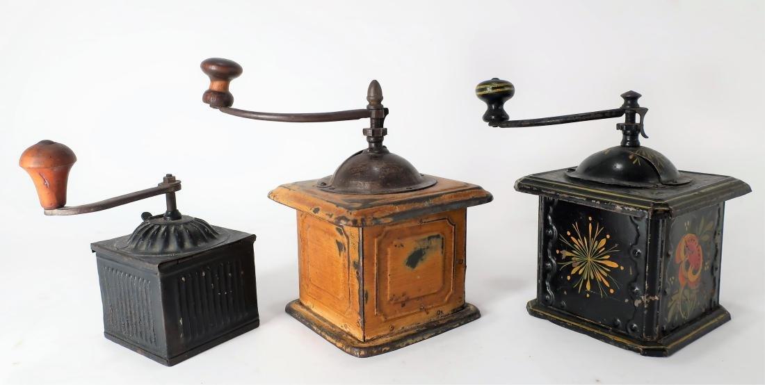 3 Antique Toleware Coffee Grinders