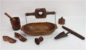 Lot of 8 Early American Wood & Treen Objects