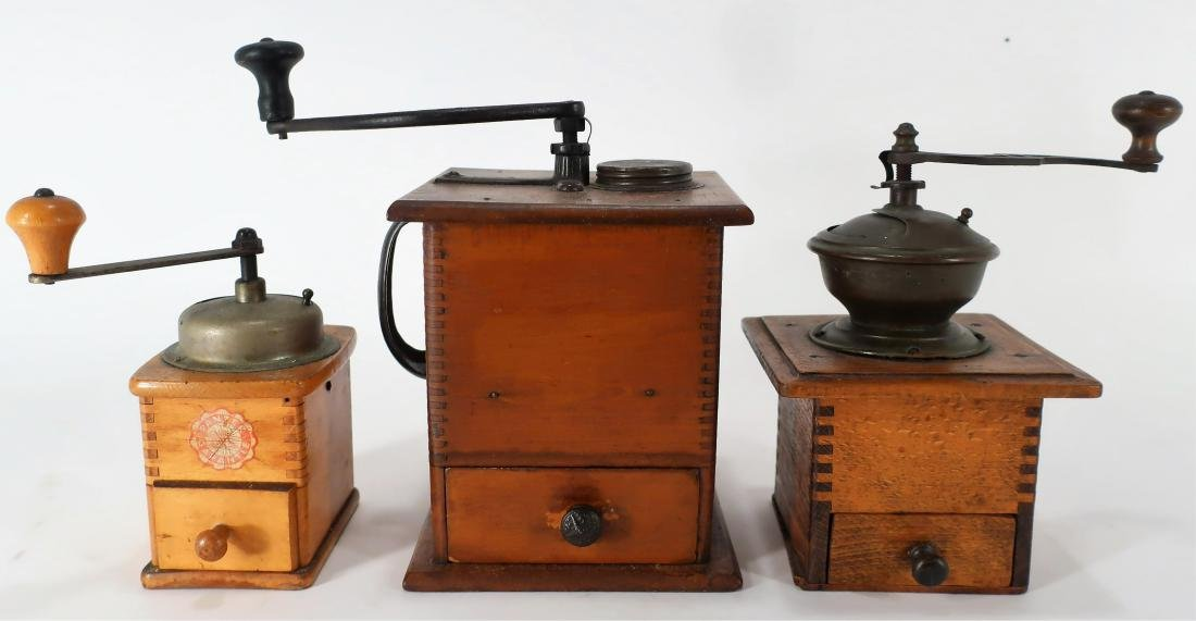 Antique Dovetailed Wood and Metal Coffee Mills