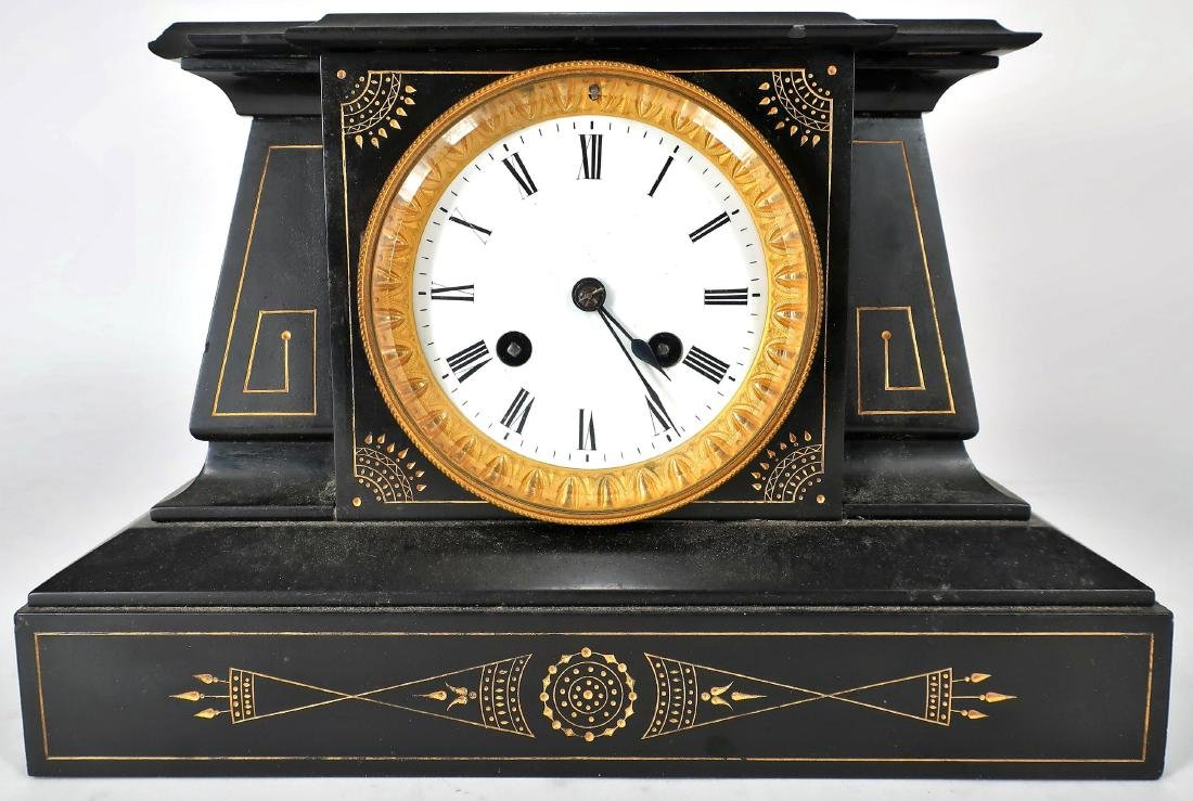 French Japy Freres Black Slate/ Metal Mantle Clock