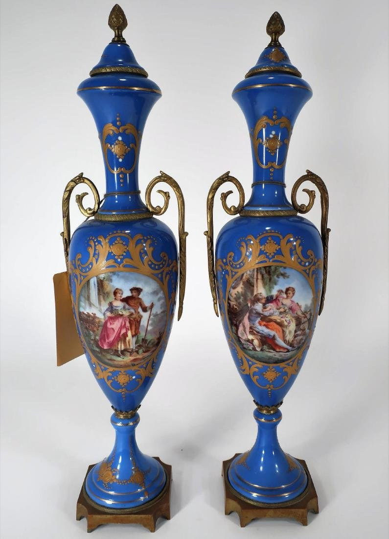 Pair of Blue Sevres Style Urns