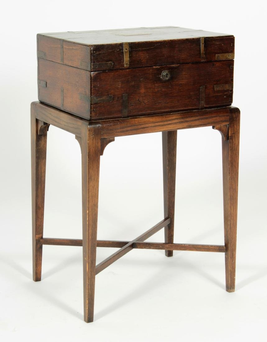 Oak Bible Box with Associated Stand, 19th C.