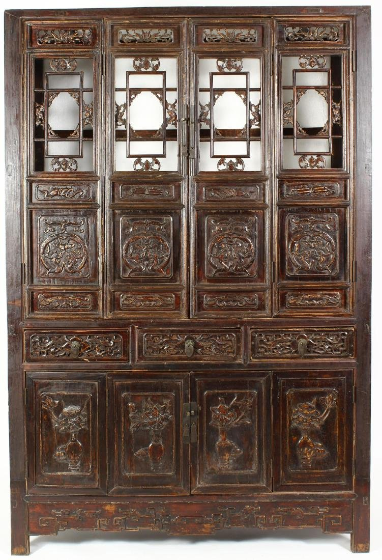 Asian Cabinet Carved with Bats & Dragons 19th c.
