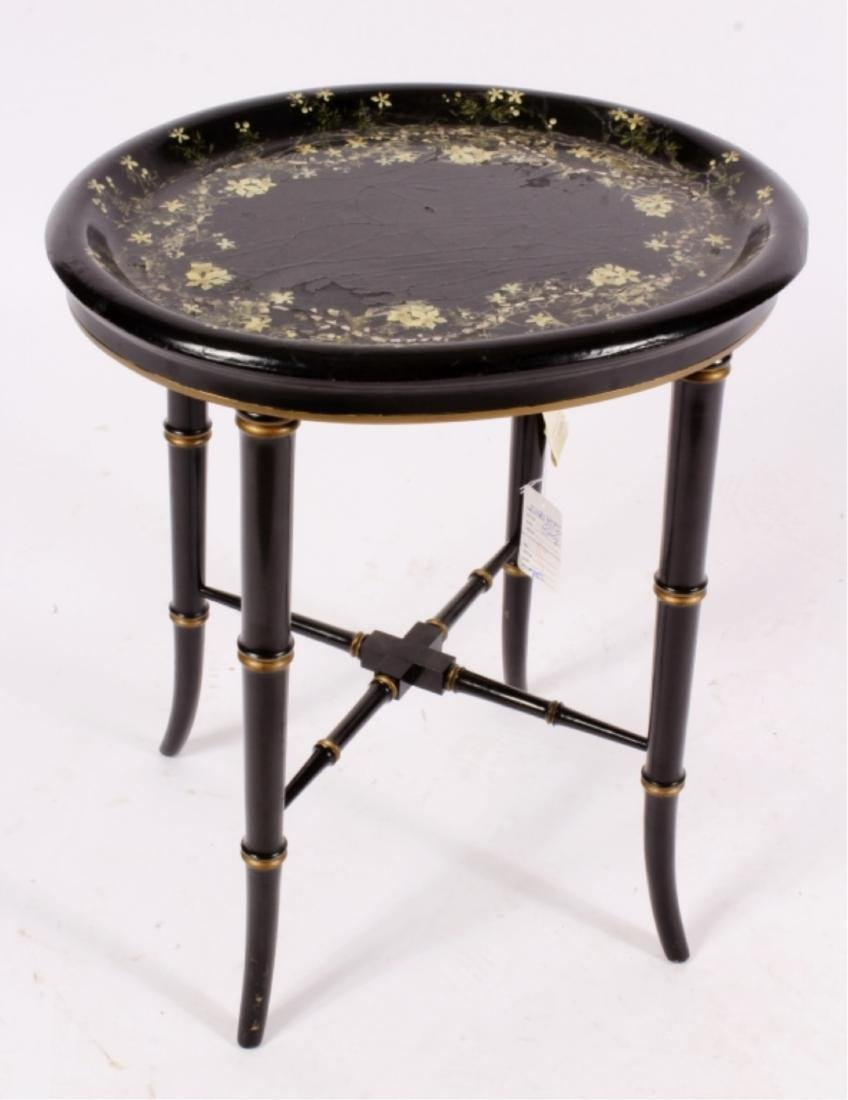 Papier Mache Tray, 19th c., on Later Stand