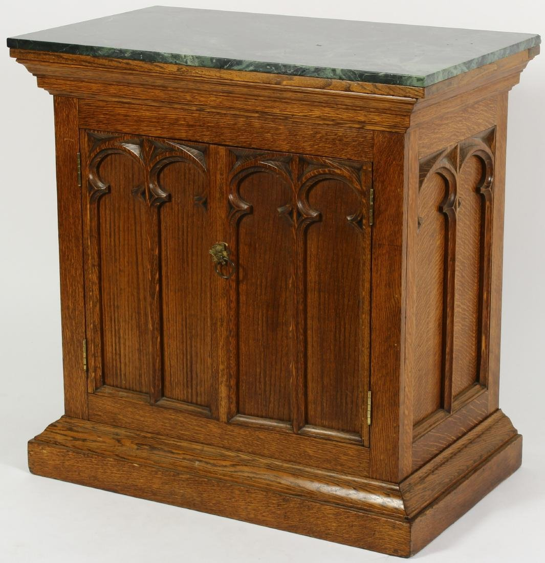 French Gothic Style Oak Cabinet w/ Marble Top