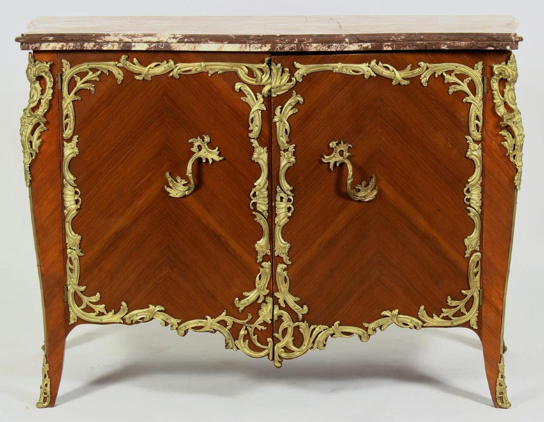 J Sargues Louis XIV Style Cabinet with Marble Top