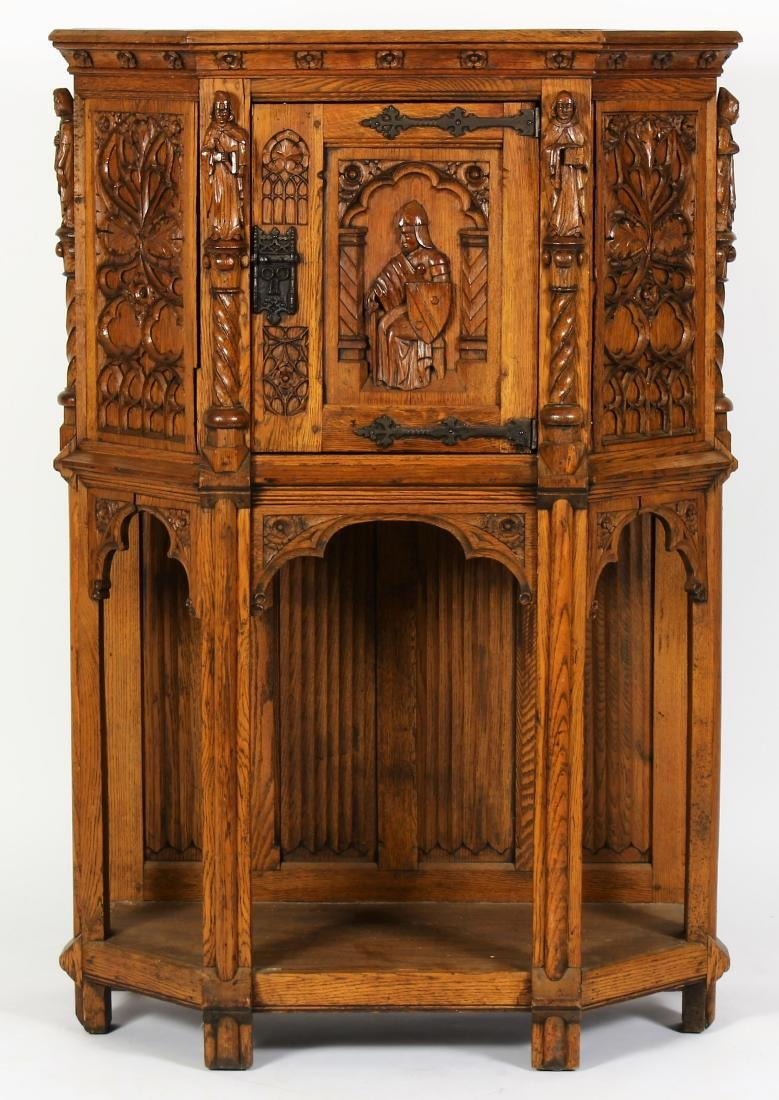 French Gothic Carved Oak Cabinet