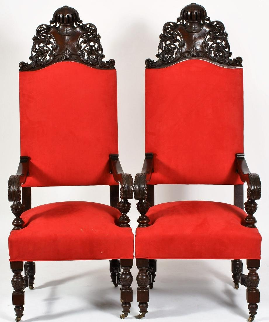 Pair of English Tudor-Style Carved Arm Chairs