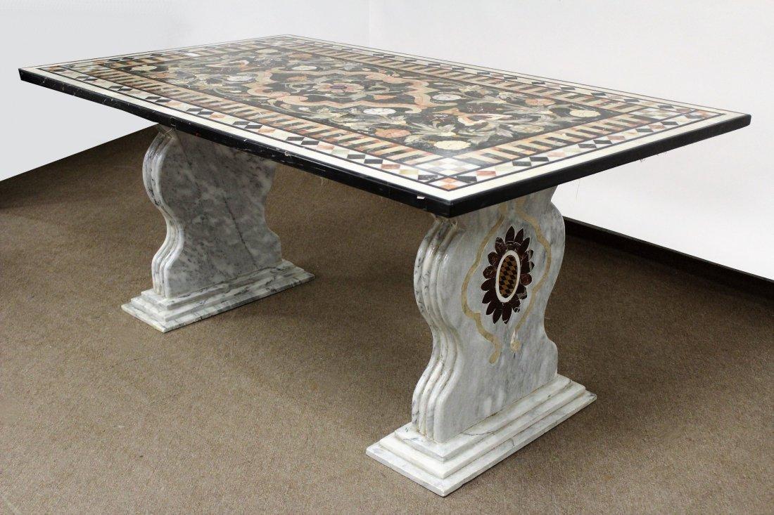Italian Pietra Dura Florentine Style Marble Table