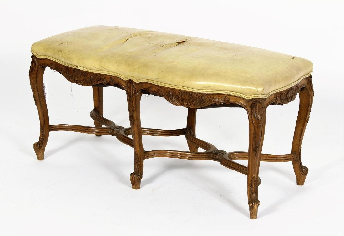 Louis XV Style Wood and Upholstered Bench