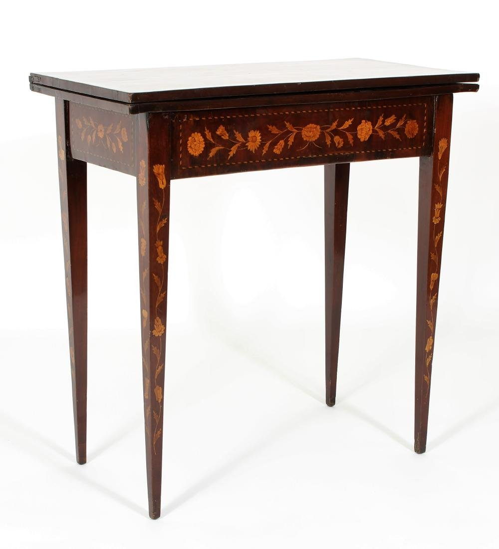 Marquetry Inlaid Games Table Square Tapered Legs