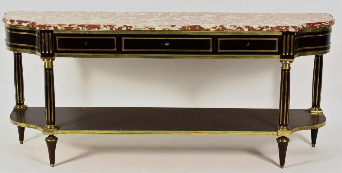 Louis XVI Style Console Table with Marble Top