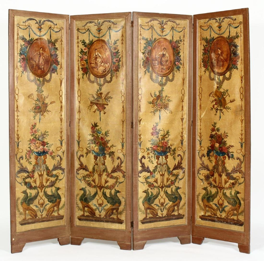 Four Panel Painted Screen c. 1940