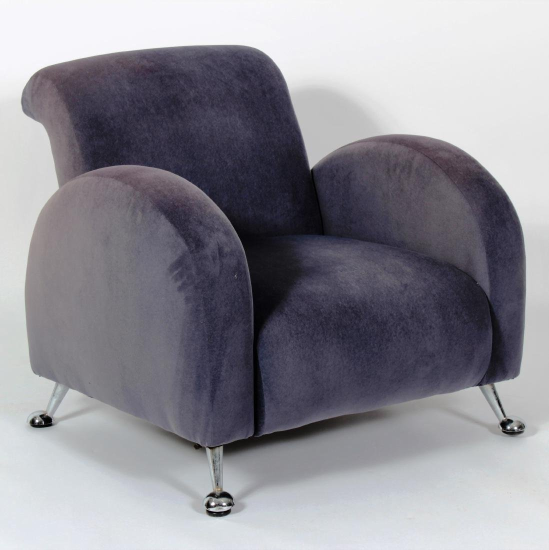 Club Chair on Metal Feet w/ Microsuede Upholstery