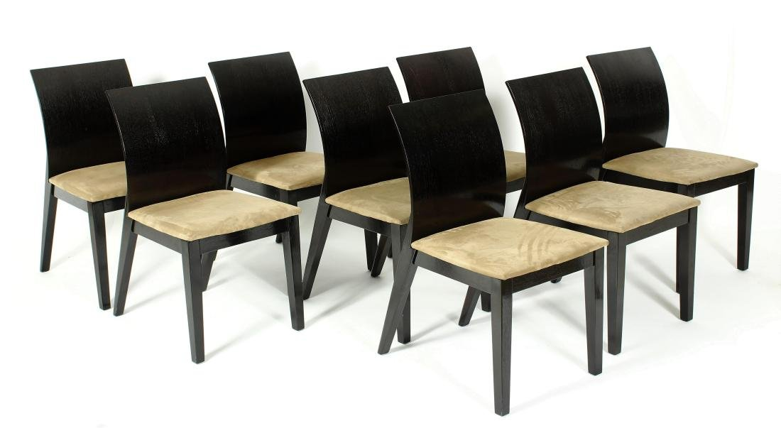 Set of 8 Modern Dining Chairs, Black Painted Wood