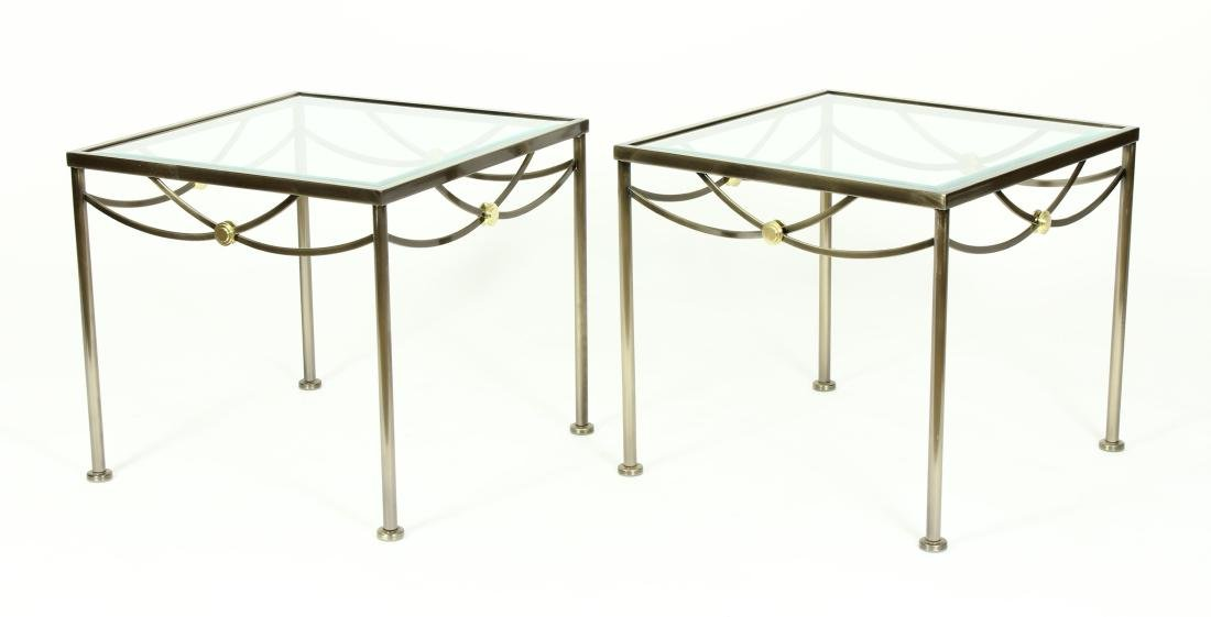 Pair of Steel and Brass Glass Topped Side Tables