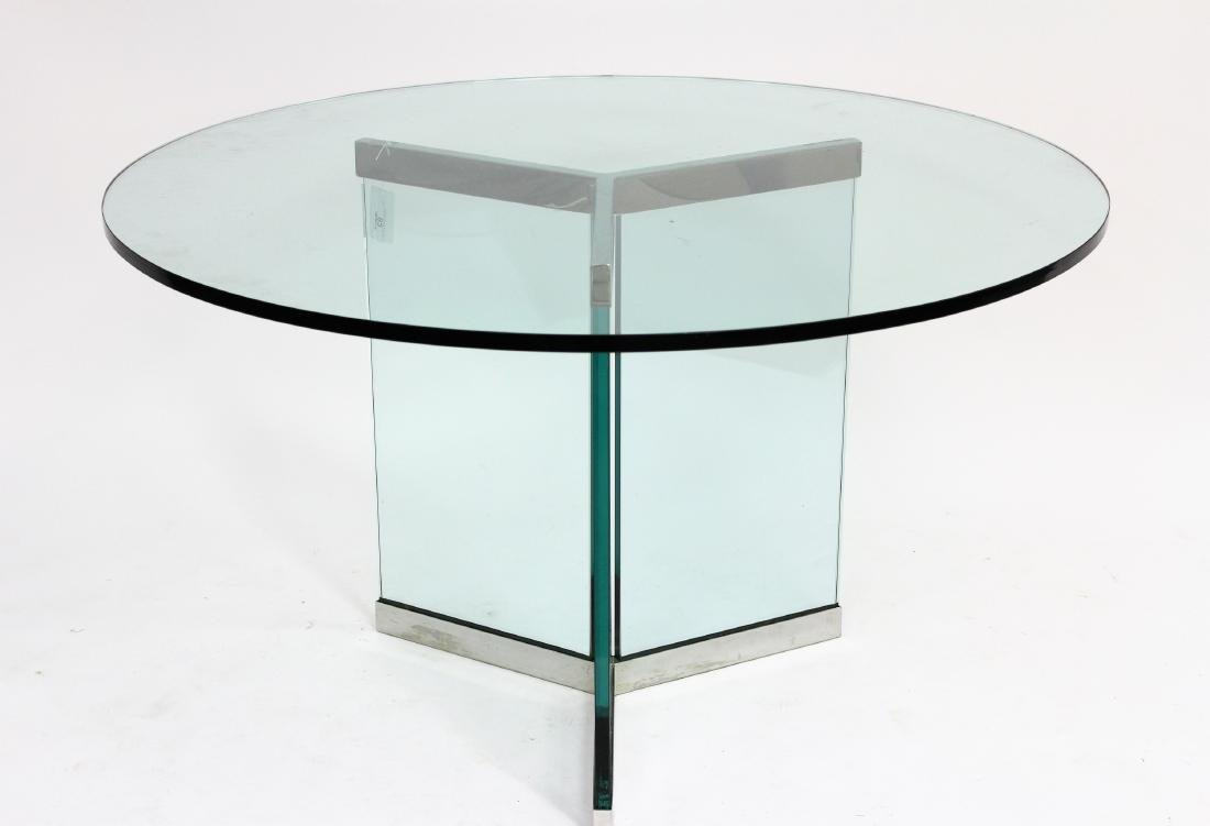 Modern Chrome/Glass Pedestal Dining Table