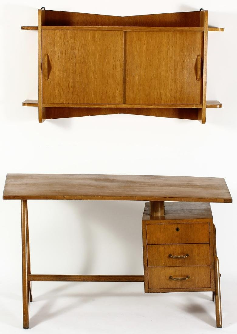 Mid-Century Desk Shaped Curved Top & Wall Cabinet