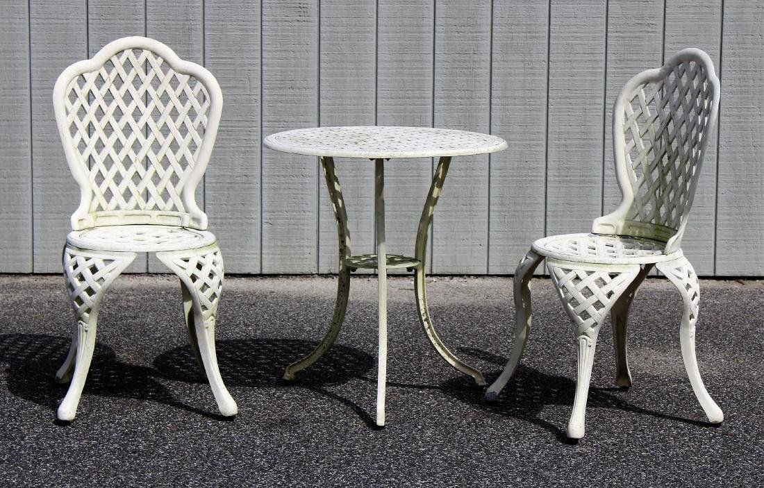 White Painted Cast Metal Bistro Table and Chairs