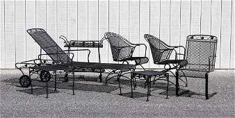7 Pcs Floral Pattern Iron Outdoor Garden Furniture