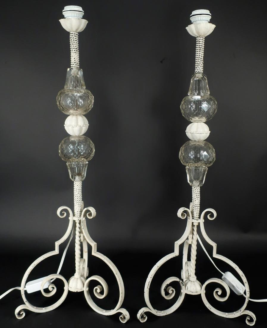 Pr. of Scrolled Iron/Glass Vintage Table Lamps
