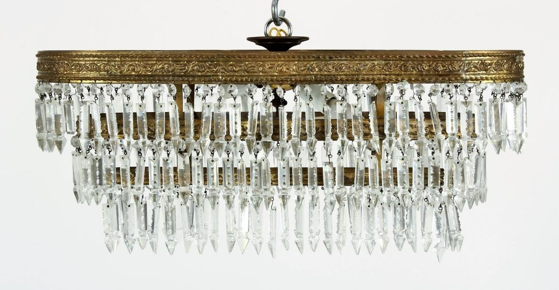 French Victorian Oval Bronze & Crystal Chandelier