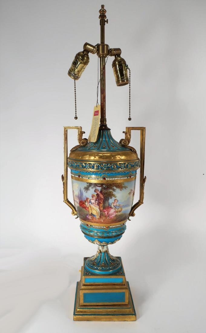 Blue Sevres Porcelain Lamp Urn, 19th c.