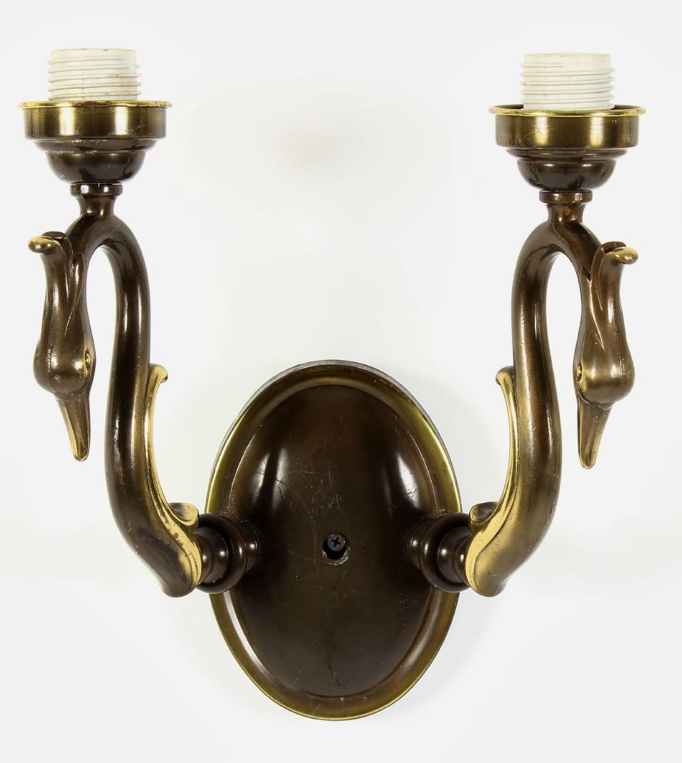 Lot of 4 Sconces 3 Brass & Bronze-Tone Swan Motif