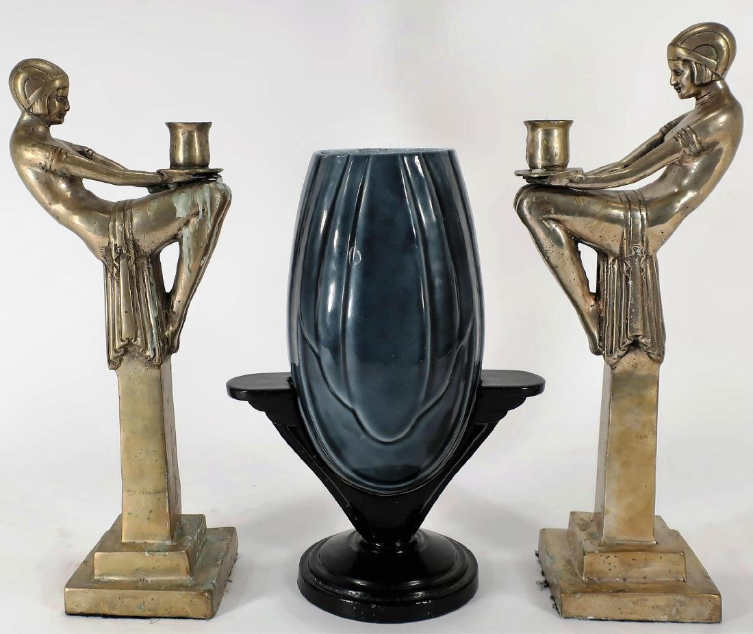 After Max Le Verrier, Candle Holders and Deco Vase