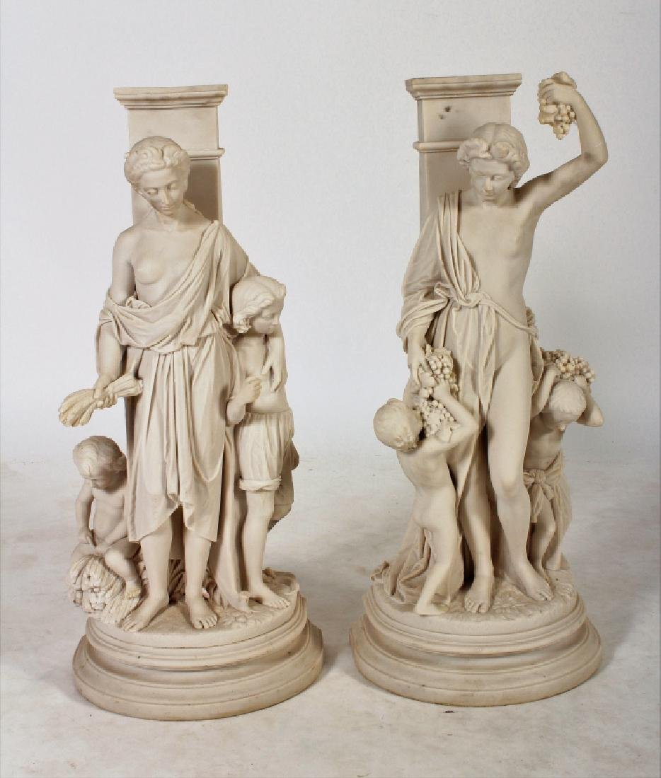 Pair Faux Marble Mother and Child Figures