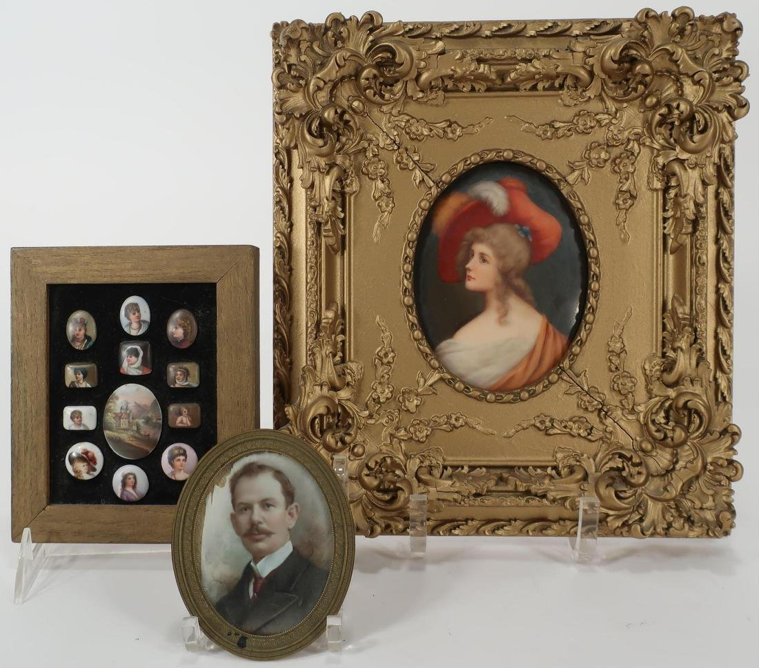 Group of Porcelain Miniature Paintings, 19th C.