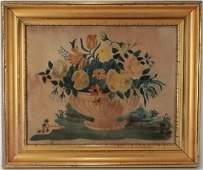 Flowers in Bowl, Theorem, 19th c. American, W/C