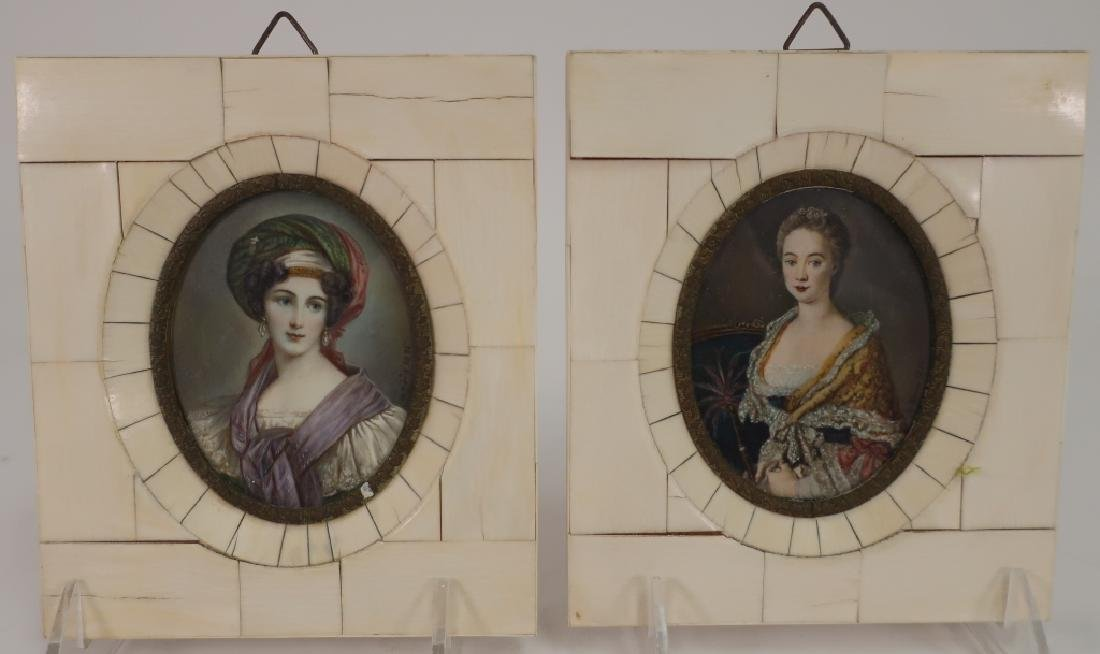Pair of early 19th c. Portrait Miniatures, signed