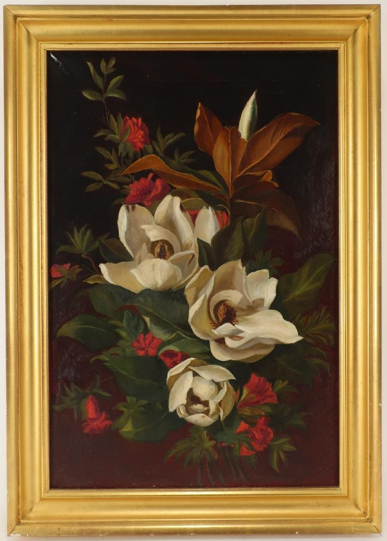 Floral Still Life, Magnolia Flowers O/C, 19th c.