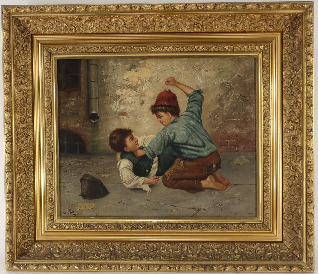 "Gaetano Lodi ""Boys Fighting"" O/C"