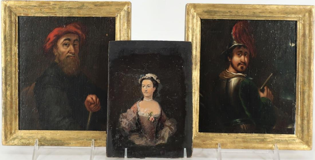 Group of 3 Small Paintings, Woman & Two Men O/B