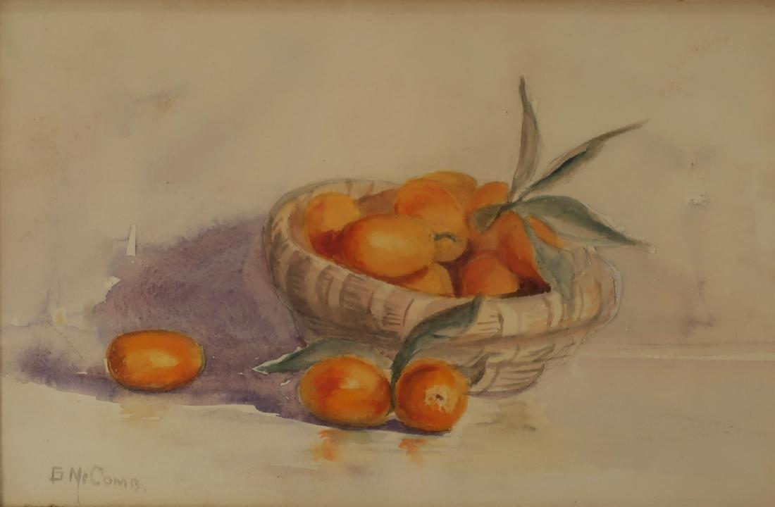 American School, Basket of Fruit, W/C, signed
