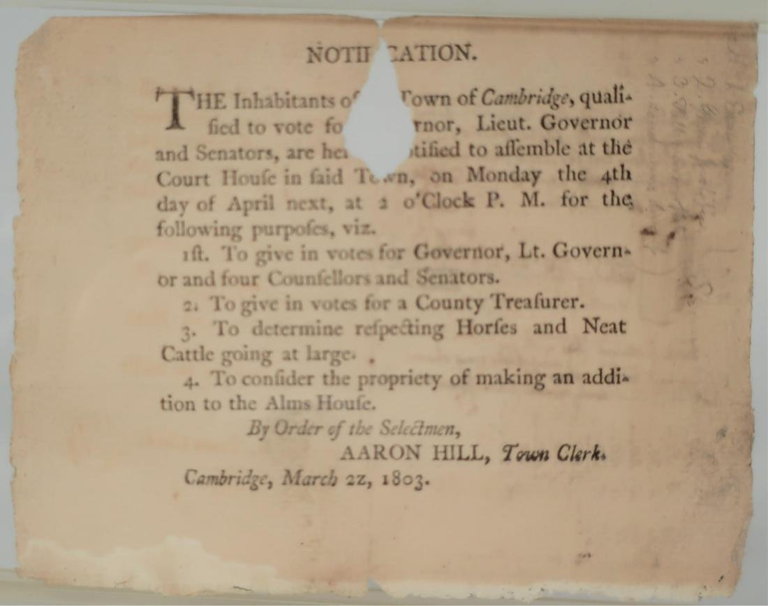 "Aaron Hill, Cambridge, MA, 1803, ""Notification"""