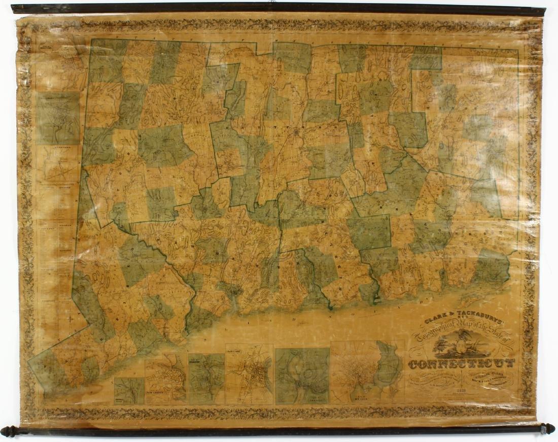 Antique Clark & Tackabury Connecticut Map,1859