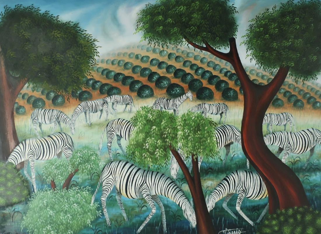 Haitian, 20th C., Zebras, O/M, signed Louis