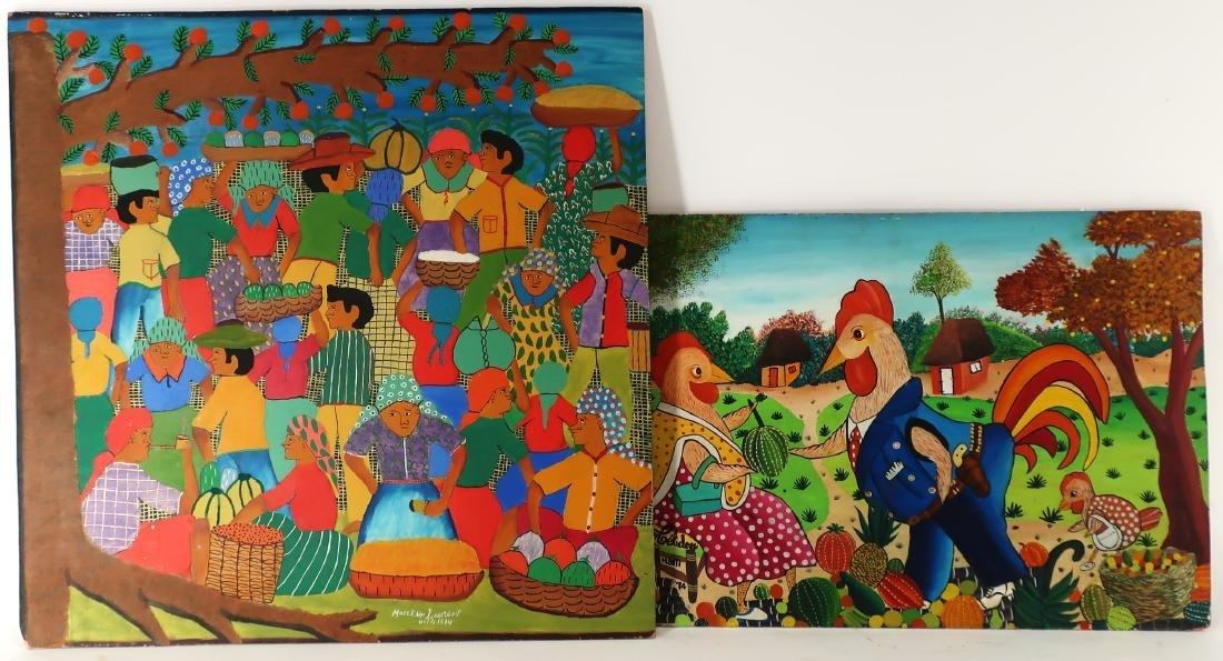 Celidon & Laurent, 2 Haitian Artworks, O/M