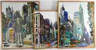 3 New York City Streetscapes, signed Pierre