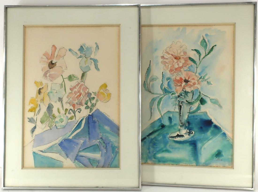 2 Floral Still Lifes, 20th C., W/C